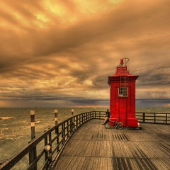 waiting - Explore (rinogas) Tags: red italy lighthouse clouds hdr veneto lignanosabbiadoro vertorama absoluterouge rinogas