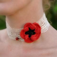 ANZAC Poppy Choker (Kiwi Little Things) Tags: crochet poppy chocker