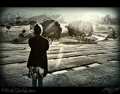 Day 26 29@29 Project (~eriani~) Tags: trees blackandwhite woman sunlight cemetery female toned vignette toning 2929 29mm