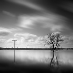 [ rural space: water in the fields ] (panfot_O) Tags: longexposure blackandwhite bw water monochrome field rural germany square landscape countryside fineart fields brandenburg uckermark contemplation agricultur