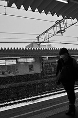 delay (Oxygen_JP) Tags: morning woman snow cute station train sigma commuter dp1