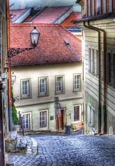 BRATISLAVA.  As The City Sleeps (Cat Girl 007) Tags: architecture colorful pastel medieval cobblestones historical slovakia bratislava enchanting redtiledroofs windingstreets extraordinarilyimpressive contemparyartsociety moonandstarsbrushes