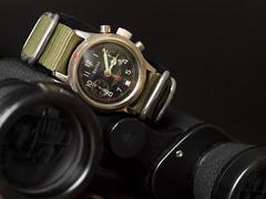 Poljot Buran Chronograph on NATO strap (Plamen Velev) Tags: green vintage gold military strap goldplated pilot chronograph nato buran zulu chrono 38mm flieger polet  3133 glashuette  poljot tutima  fliegerchronograph plamenvelev   1 1mchz