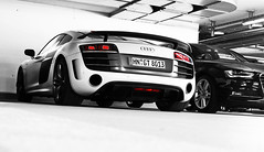 Winged R8. (Frankenspotter Photography) Tags: red white rot sc canon germany deutschland eos 10 d s v german adrian pearl editing mm 1855mm 1855 gt audi limited rosso bianco efs supercar ef colouring matte v10 coup sportscar deutsch sportscars supercars selective 1100 r8 thelen ingolstadt weis 13333 1100d worldcars frankenspotter