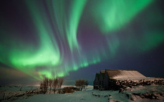 Farm of Aurora - Iceland (Arnar Bergur) Tags: winter sky house snow green night stars iceland 28 oldhouses sland northernlights auroraborealis 14mm rokinon 5dmkii arnarbergur