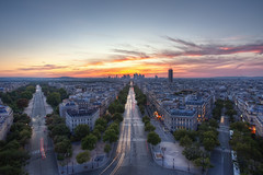 Deux et demi (TheFella) Tags: road street longexposure trees sunset two sky sun paris france slr hub clouds digital photoshop canon de point eos three grande photo high europe ledefrance dynamic dusk five arc triomphe photograph processing half slowshutter 5d d