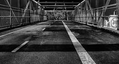 Bridge Walkway (DPGold Photos) Tags: city nyc newyorkcity bridge blackandwhite bw usa eastvillage ny newyork brooklyn night lowereastside williamsburg williamsburgbridge urbex