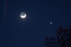 Venus, Crescent Moon with Earthshine, and Jet [Explored] (Stephen Little) Tags: moon nature earthshine waxingcrescent skywatching tamron200400mm tamron200400mmf56 tamronaf200400mmf56 sonya77 jstephenlittlejr 18offull tamronaf200400mm slta77 sonyslta77 sonyslta77v sonyalphaslta77v