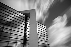 Higher learning 2...... (Digital Diary........) Tags: longexposure blackandwhite bw building glass architecture clouds movement le sthelens weldingglass