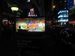 mad men in the night 6845 (Brechtbug) Tags: street new york city nyc men film station television by movie season advertising poster logo tv jon artist near ad 7 cable mini billboard advertisement final seven don 1960s milton mad amc avenue 7th 34th channel hamm draper 2014 51st glasier 03222014