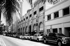 Shoreland Arcade Downtown Miami (Phillip Pessar) Tags: camera bw white black film analog 35mm us store downtown florida zoom kodak miami infinity tx trix arcade places olympus x historic national thrift 400 register tri 70 shoreland
