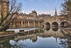 Pulteney Bridge, Bath (Nige H (Thanks for 25m views)) Tags: uk england history river landscape bath day riveravon pulteneybridge pwpartlycloudy