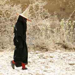 Hadramaut Woman Dressed In Black And Wearing A Cone Hat Passing By, Hadramaut, Yemen (Eric Lafforgue Photography) Tags: road portrait people woman plants black hat sunshine silhouette rock stone walking square outside person clothing asia day desert adult mask habit outdoor walk profile fulllength middleeast dry clothes arabia daytime yemen masked niqab waterbottle oneperson onepeople colorphoto blackdress passingby yemeni dayview bighat inblack highhat realpeople onewoman hadramawt maskedface colorpicture placeofinterest redsock nikab maskedwoman arabiafelix arabianpeninsula 1people wadidoan hadhramawt hadhramout hadramaout hadhramaut lackofwater colourpicture blackburqa ḥaḍramut blissfularabia