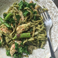 May 14 #dailylunches - Leftover pasta with Farm Boy pesto (A+!), asparagus, kale, chicken. (fishbowl_fish) Tags: lunch leftovers dailylunches