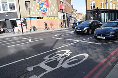 DSC_4408 Great Eastern Street Confusing New Cycle Superhighway Crossing Maserati Ghibli Sports Car GK53KWF (photographer695) Tags: street new sports car crossing great cycle ghibli eastern superhighway confusing maserati gk53kwf