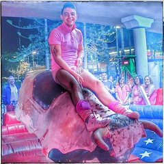 In the Pink - Riding the Bull (FotoFling Scotland) Tags: pink gay game male fun bull cap squareformat homo gaypride bulge yumbo ridingabull gaylife pinkpanties pinkbriefs hardride instagram maspalomasgaypride