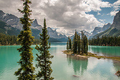 Spirit Island (angie_1964) Tags: trees lake canada mountains nature water clouds rockies outdoors jasper alberta malignelake spiritisland