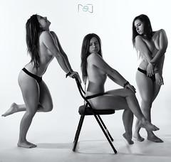 Txibi II (Sergio Nevado) Tags: portrait woman white black blanco girl studio nude mujer chair chica retrato negro estudio silla