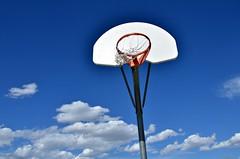 Hoop Dream (Pedestrian Photographer) Tags: park city blue school sky net basketball clouds hoop colorado may deep elementary ribbet 2016 dsc1708 dsc1708b