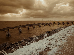 Against the Elements (Adventures in Infrared) (Torsten Reimer) Tags: ocean sea sky seascape water netherlands clouds coast meer europa europe path dam himmel infrared nl marken noordholland waterland niederlande infrarot olympusepl5