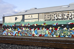 Jurne, Dment, Twigs & Enron (Say Cheese & Die) Tags: railroad graffiti oakland bay rust san francisco tracks tags tagged pi area twigs enron sker jurne dment