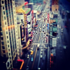 looking down 42nd street in New York City (mudpig) Tags: nyc newyorkcity ny newyork square geotagged squareformat timessquare gothamist 42ndstreet iphone tiltshift stevekelley iphoneography stevenkelley instagramapp xproii uploaded:by=instagram