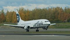 Alaska Air 737 Combi landing at ANC