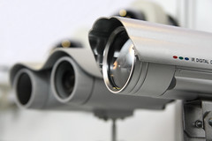 CCTV security cams. (SuperFiberPlus) Tags: camera white black glass look electric metal warning lens observation ir grey webcam video technology watching guard police cctv security device case system plastic crime spy terrorism infrared electronic monitoring signal holder corbel supervision antiterrorism russianfederation