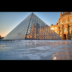 Louvre on ice (Zed The Dragon) Tags: city morning bridge winter light sunset sky paris france building ice skyline architecture skyscraper photoshop reflections french landscape effects europe flickr cityscape view pyramid minolta louvre sony hiver capital best musee full fave un most views frame faves 100 fullframe alpha soir pyramide reflets postproduction gel hdr highdynamicrange sal lelouvre zed lumières glace 2012 francais verre cour lightroom historique effets storia parisien carrée 24x36 poselongue a850 eclairages sonyalpha nd1000 dslra850 alpha850 zedthedragon 100coms mosaique2012a