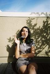 margot II (kateharwitz) Tags: sky selfportrait film fashion silhouette self hair outfit cigarette smoke smoking wesanderson margottenenbaum