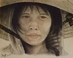 Female Vietnamese field worker wearing a conical hat (fitzjim) Tags: china portrait woman sun hot smile wearing hat rain smiling closeup lady scarf hair thailand cambodia southeastasia pretty artist vietnamese cheek rice sweet drawing pastel rollerderby vietnam kind shade bow pastels strap land fields hood worker ribbon freckles laos ricefields chin picking southchinasea rains conical bombers freckled vietnamwar hardworker picker hardlife fieldworker frecklefaced gently conicalhat socialistrepublicofvietnam freckleface jimfitzpatrick wearingahat pickingrice