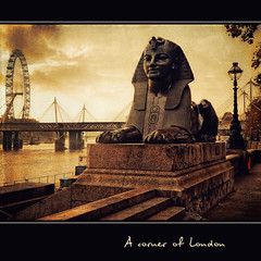 A corner of London (in eva vae) Tags: old england london texture sphinx thames clouds londoneye ferriswheel squared lightroom thegalaxy inevavae mygearandme flickrstruereflection1