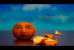 The Mourning of a Tangerine (AKfoto.fr) Tags: face tangerine mandarine fruit mourning clementine 50mm18 deuil 550d hbw strobist t2i happybokehwednesday
