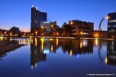 NOCTURNA MURCIA (Fotografo Santa-Pau) Tags: blue españa water colors azul night buildings reflections edificios agua colores murcia nocturna esp offices reflejos oficinas