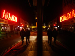 Brighton Komedia 4 (brightondj - getting the most from a cheap compact) Tags: street uk light red signs shop club night reflections lights brighton neon nightshot display nighttime neonlights streetphoto shopwindow redlight comedyclub gardnerstreet komedia brightonkomedia