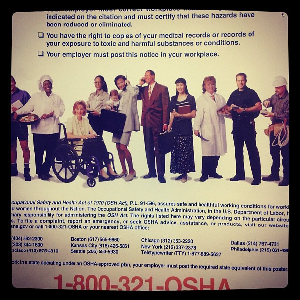 This OSHA poster sits above our time-clock computer at the Gap. Why do the people look suspiciously friendly?