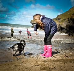 A Girl's Best Friend (Photo Gal 2009) Tags: pink sea dog playing beach wet girl rock children fun coast seaside sand westwales otis play natural longhair teenager wellingtonboots mansbestfriend cockerspaniel bestfriend ceredigion wellingtons pinkboots llangrannog wetdog blueroan englishcockerspaniel welshcoast girlsbestfriend dyfed pinkwellies welshbeach walescoast walesbeach pinkwellingtons walesseaside langrannogwales