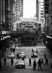 Off to Work (Chris Smith/Out of Chicago) Tags: morning light people chicago cars train work walking shadows taxis l thel