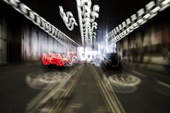 Twenty Is Plenty (Sean Batten) Tags: city red england urban white signs london cars 35mm nikon df traffic unitedkingdom taxi tunnel barbican gb lighttrails