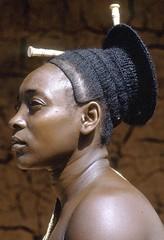 D. R. Congo. Mbombio, Chief Mogendo's principal wife, Mangbetu people, Medje village, 1970  // by   Eliot Elisofon (mike catalonian) Tags: africa portrait face female photography profile drcongo centralregion eliotelisofon mangbetu 19701970s