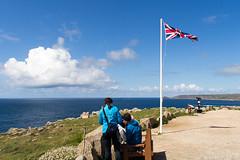 Lands End (Tangoman11) Tags: ocean blue sea england sky people nature water coast cornwall britain outdoor flag atlantic pole landsend viewpoint unionjack lanscape