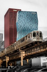 Windy City Wednesdays (itsonlykotsy) Tags: chicago building skyline train subway outside outdoors cityscape skyscrapers metro transportation transit ltrain daytime highrises elevatedtrain