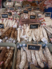 Charcuterie in many shapes and sizes (seikinsou) Tags: brussels spring belgium belgique market sausage bruxelles charcuterie