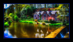 Lazy Days (A Digital Artist) Tags: england reflection building water beautiful architecture clouds landscape pond village waterfront cheshire northwest serene tranquil scenics lymm canon1855mm kevinwalker canon1100d