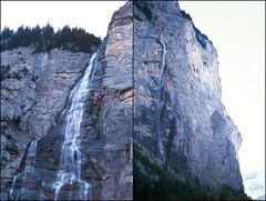Lauterbrunnen waterfall diptych (HolmisticWalker) Tags: film 50mm switzerland waterfall diptych fuji slide velvia april 100 expired lauterbrunnen fujichrome rvp100