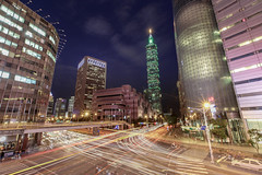 Taipei 101, Taiwan _IMG_8951 (Len) Tags: light urban building architecture cityscape nightscape nightshot taiwan lighttrails taipei101  6d traffictrails   101         ef1635mmf28liiusm  1635lii