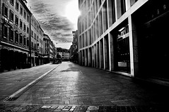 early morning in Wrzburg (eggii) Tags: street city bw monochrome germany bavaria mono wrzburg agata eggii mainfranconian