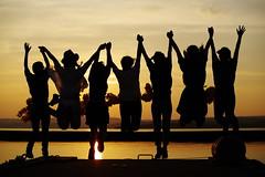 Let's Jump! (HAMA-ANNEX) Tags: sunset portrait silhouette k1  hdpentaxdfa70200mmf28eddcaw