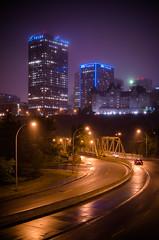Purple City (Kurayba) Tags: ca city bridge urban canada tower wet rain fog skyline night river hotel edmonton purple pentax f14 low north foggy full rainy alberta level valley da frame saskatchewan 55 mode ff macdonald atb telus k1 smcpda55mmf14sdm