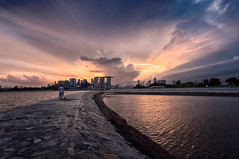 Changing Light, Marina Bay, Singapore (gersunchan) Tags: singapore marinabay marinabaysands sunset d90 digitalblending dri twilight storm stormy
